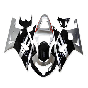 NT Aftermarket Injection ABS Plastic Fairing Fit for GSXR 600/750 2001-2003 Black Silver N002 Available in TX IL