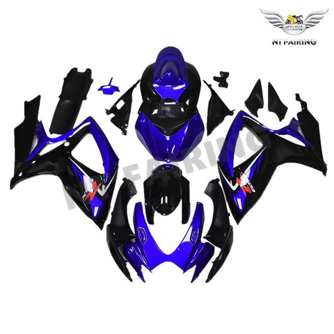 NT Aftermarket Injection ABS Plastic Fairing Kit Fit for GSXR 600/750 2006 2007 Blue Black N001 Available in TX