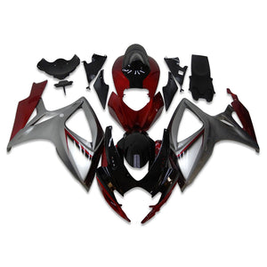 NT Aftermarket Injection ABS Plastic Fairing Fit for GSXR 600/750 2006-2007 Red Gray N006 Available in TX IL