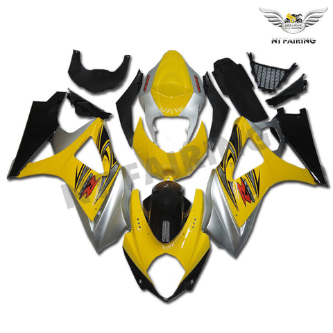 NT Aftermarket Injection ABS Plastic Fairing Fit for GSXR 1000 2007-2008 Yellow Silver Black N007