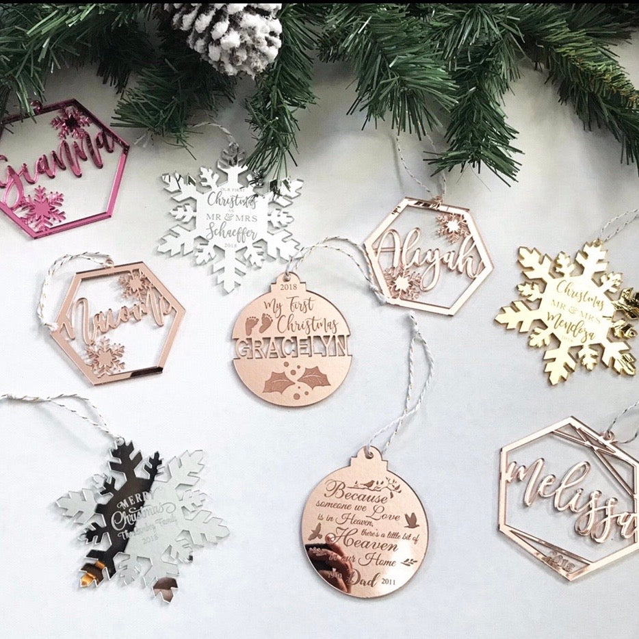 PERSONALIZED LASER CUT CHRISTMAS ORNAMENTS