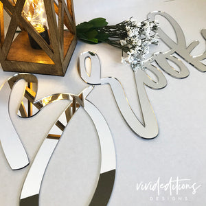 Silver Mirror Name Sign Backdrop