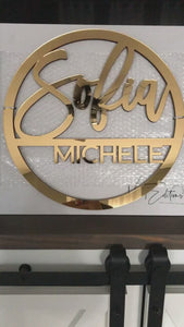 Gold mirror acrylic split name sign