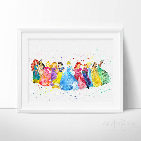 Disney Princesses Watercolor Art Print 2 Art Print - VIVIDEDITIONS