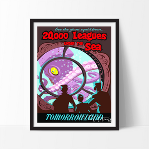 20,000 Leagues Under The Sea, Disneyland Poster Art Print - VIVIDEDITIONS