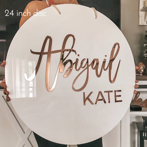 3d Rose Gold Acrylic Round Name Sign. Nursery Wedding Babyshower Birthday Backdrop Wall Decor.