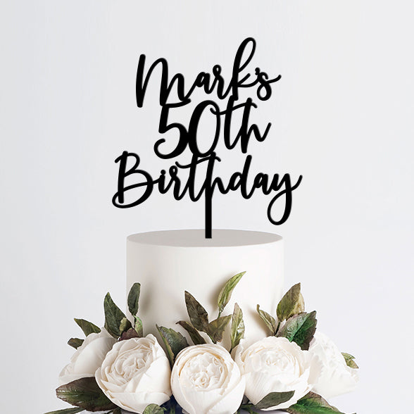 Personalized 50th Birthday Cake Topper, Acrylic or Wood Art Print - VIVIDEDITIONS