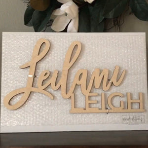 First & Middle Name Stacked Backdrop Sign, Acrylic or Wood Art Print - VIVIDEDITIONS