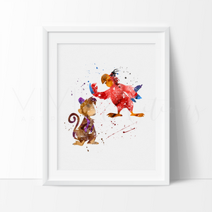 Abu & Iago, Aladdin Watercolor Art Print Art Print - VIVIDEDITIONS