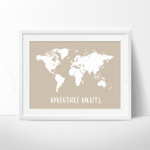 Adventure Awaits World Map, Beige Art Print - VIVIDEDITIONS