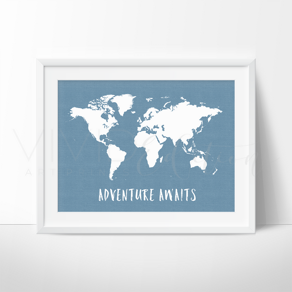 Adventure Awaits World Map, Blue Art Print - VIVIDEDITIONS