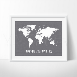 Adventure Awaits World Map, Gray Art Print - VIVIDEDITIONS