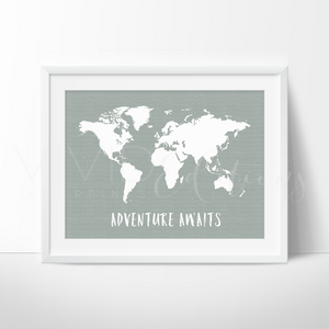Adventure Awaits World Map, Metal Art Print - VIVIDEDITIONS