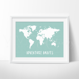Adventure Awaits World Map, Mint Art Print - VIVIDEDITIONS
