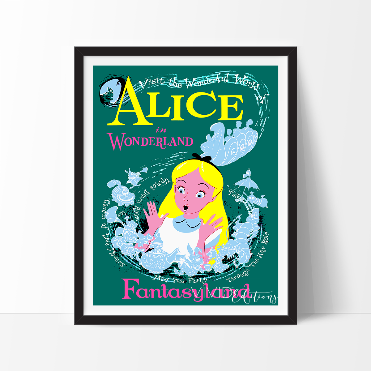 Vintage Alice in Wonderland Disneyland Attraction Poster Available in 4 Sizes