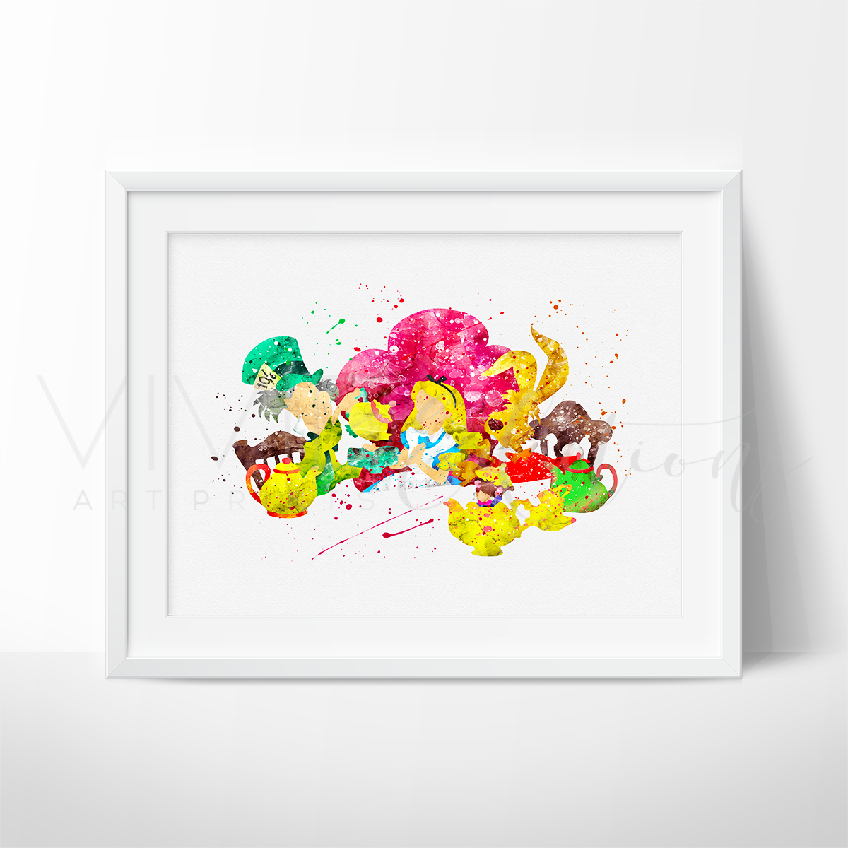 Alice in Wonderland + Friends Watercolor Art Print Art Print - VIVIDEDITIONS