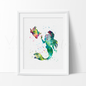 Ariel, Little Mermaid Watercolor Art Print Art Print - VIVIDEDITIONS