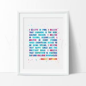 Audrey Hepburn Quote Watercolor Art Print Art Print - VIVIDEDITIONS