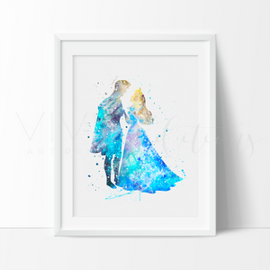 Princess Aurora & Prince Phillip Watercolor Art Print Art Print - VIVIDEDITIONS