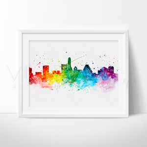 Austin Skyline Watercolor Art Print Art Print - VIVIDEDITIONS