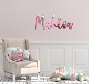"12"" Personalized Name Sign, Gold Mirror Art Print - VIVIDEDITIONS"