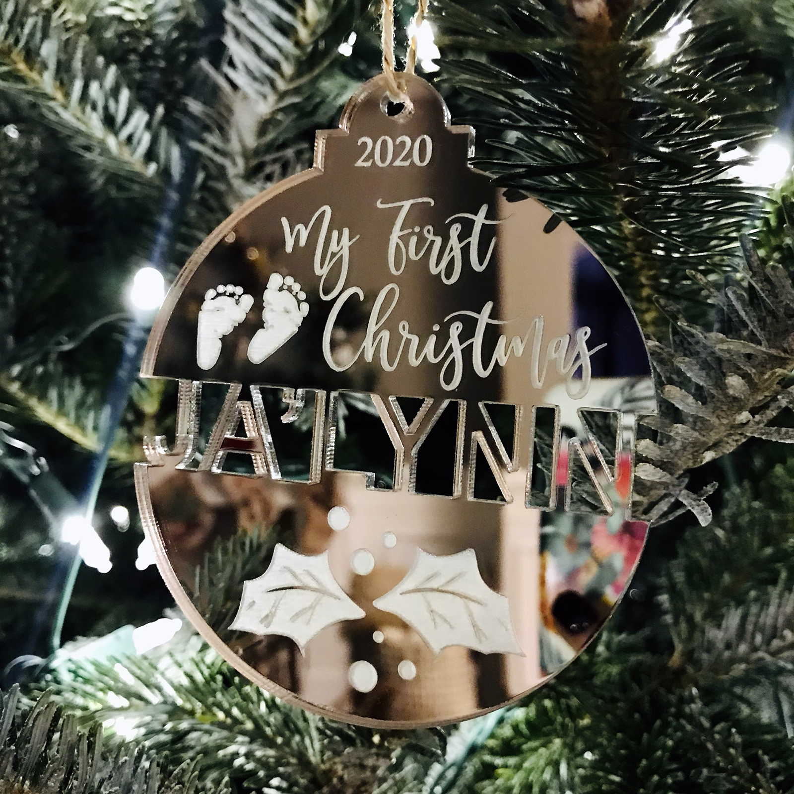 Laser Engraved Snowflake Personalized Laser Cut Ornament 2020 Free Shipping Christmas Tree Ornament