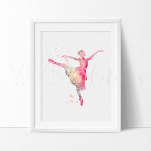 Ballerina, Pink Watercolor Art Print Art Print - VIVIDEDITIONS