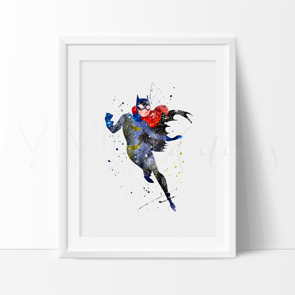 Batgirl Watercolor Art Print Art Print - VIVIDEDITIONS