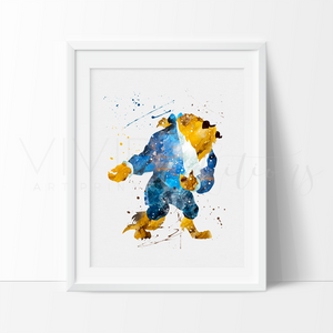 Beast, Beauty and the Beast Watercolor Art Print Art Print - VIVIDEDITIONS