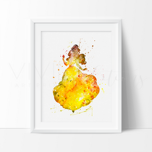 Belle, Beauty and the Beast 3 Watercolor Art Print Art Print - VIVIDEDITIONS