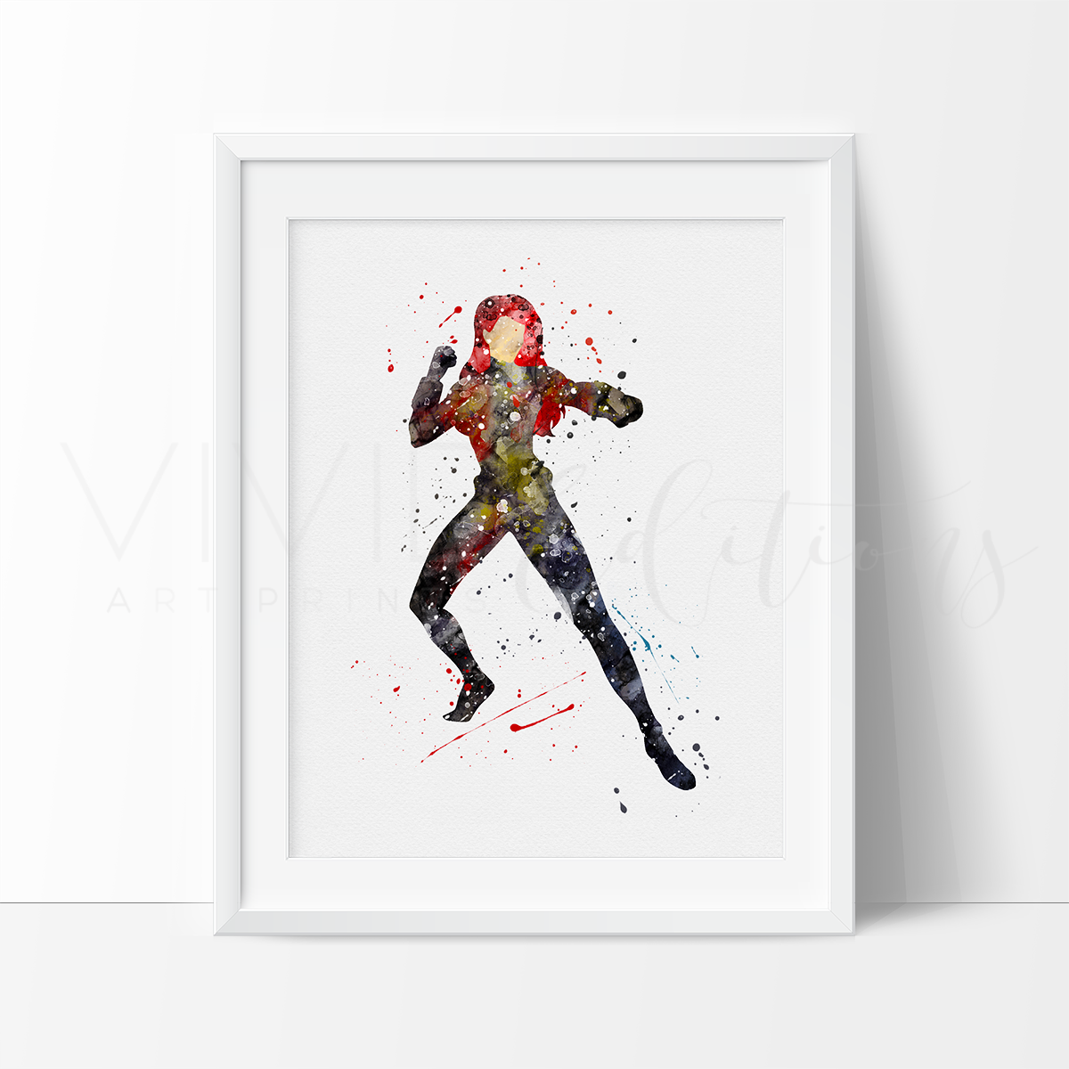 Black Widow Watercolor Art Print Art Print - VIVIDEDITIONS