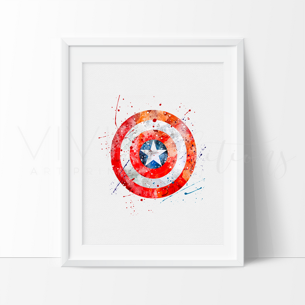 Captain America Shield Watercolor Art Print Art Print - VIVIDEDITIONS