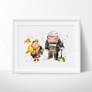 Carl & Russel, Up Balloon House Watercolor Art Print Art Print - VIVIDEDITIONS