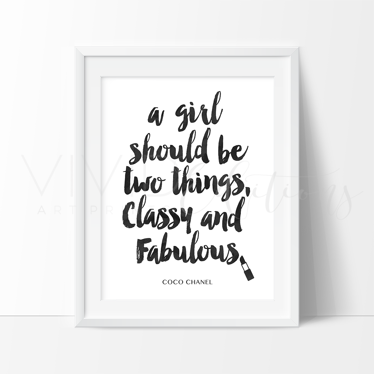 Classy & Fabulous Chanel Quote, Black & White Watercolor Art Print Art Print - VIVIDEDITIONS