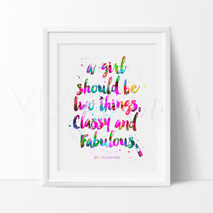 Classy & Fabulous Chanel Quote Watercolor Art Print Art Print - VIVIDEDITIONS