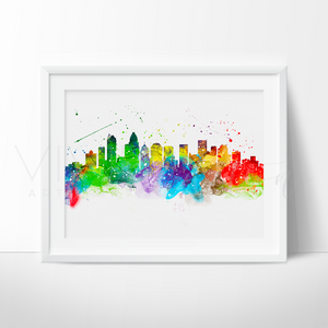Charlotte Skyline Watercolor Art Print Art Print - VIVIDEDITIONS