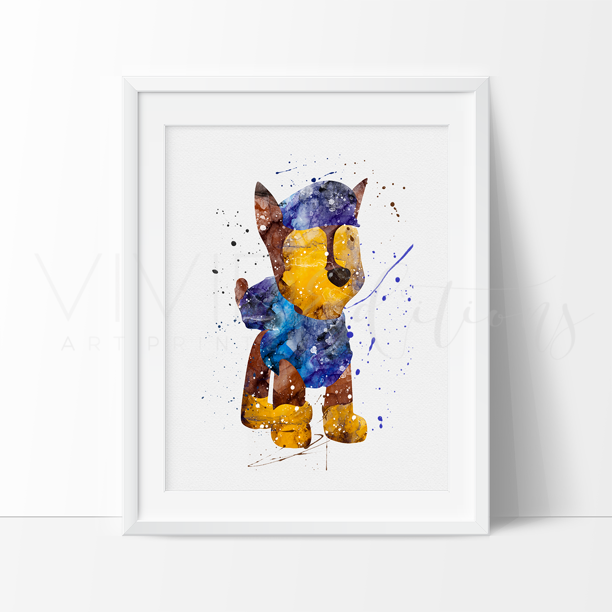 Chase, Paw Patrol Watercolor Art Print Art Print - VIVIDEDITIONS