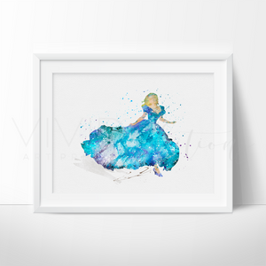 Cinderella 3 Watercolor Art Print Art Print - VIVIDEDITIONS