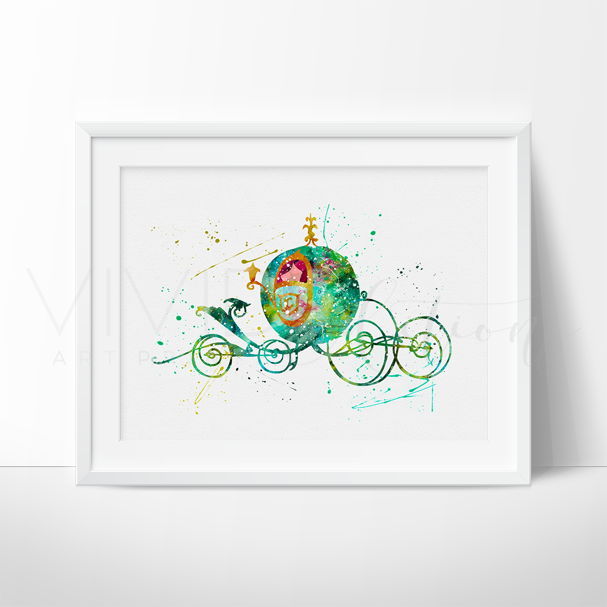Cinderella Carriage Watercolor Art Print Art Print - VIVIDEDITIONS
