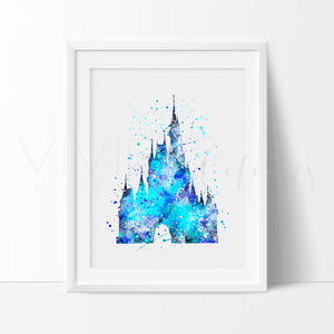 Cinderella Castle 5 Watercolor Art Print Art Print - VIVIDEDITIONS