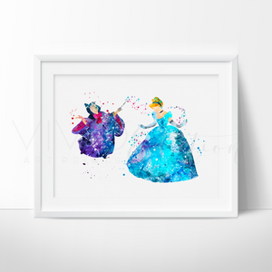 Cinderella & Fairy Godmother Watercolor Art Print Art Print - VIVIDEDITIONS