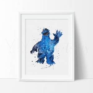 Cookie Monster, Sesame Street Watercolor Art Print Art Print - VIVIDEDITIONS