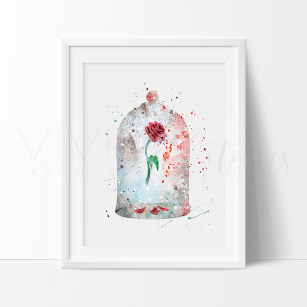 Cursed Rose, Beauty and the Beast Watercolor Art Print Art Print - VIVIDEDITIONS