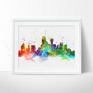 Dallas Skyline Watercolor Art Print Art Print - VIVIDEDITIONS
