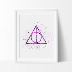 The Deathly Hallows 2, Harry Potter Watercolor Art Print Art Print - VIVIDEDITIONS