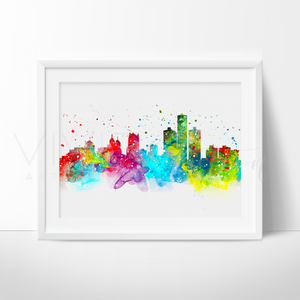Detroit Skyline Watercolor Art Print Art Print - VIVIDEDITIONS