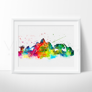 Animal Kingdom, Disney World Skyline Watercolor Art Print Art Print - VIVIDEDITIONS