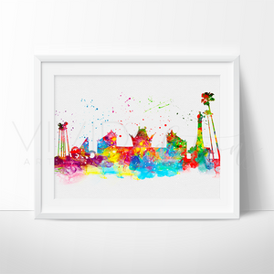 Hollywood Studios, Disney World Skyline Watercolor Art Print Art Print - VIVIDEDITIONS