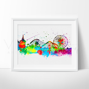 Disneyland Park, Skyline Watercolor Art Print Art Print - VIVIDEDITIONS