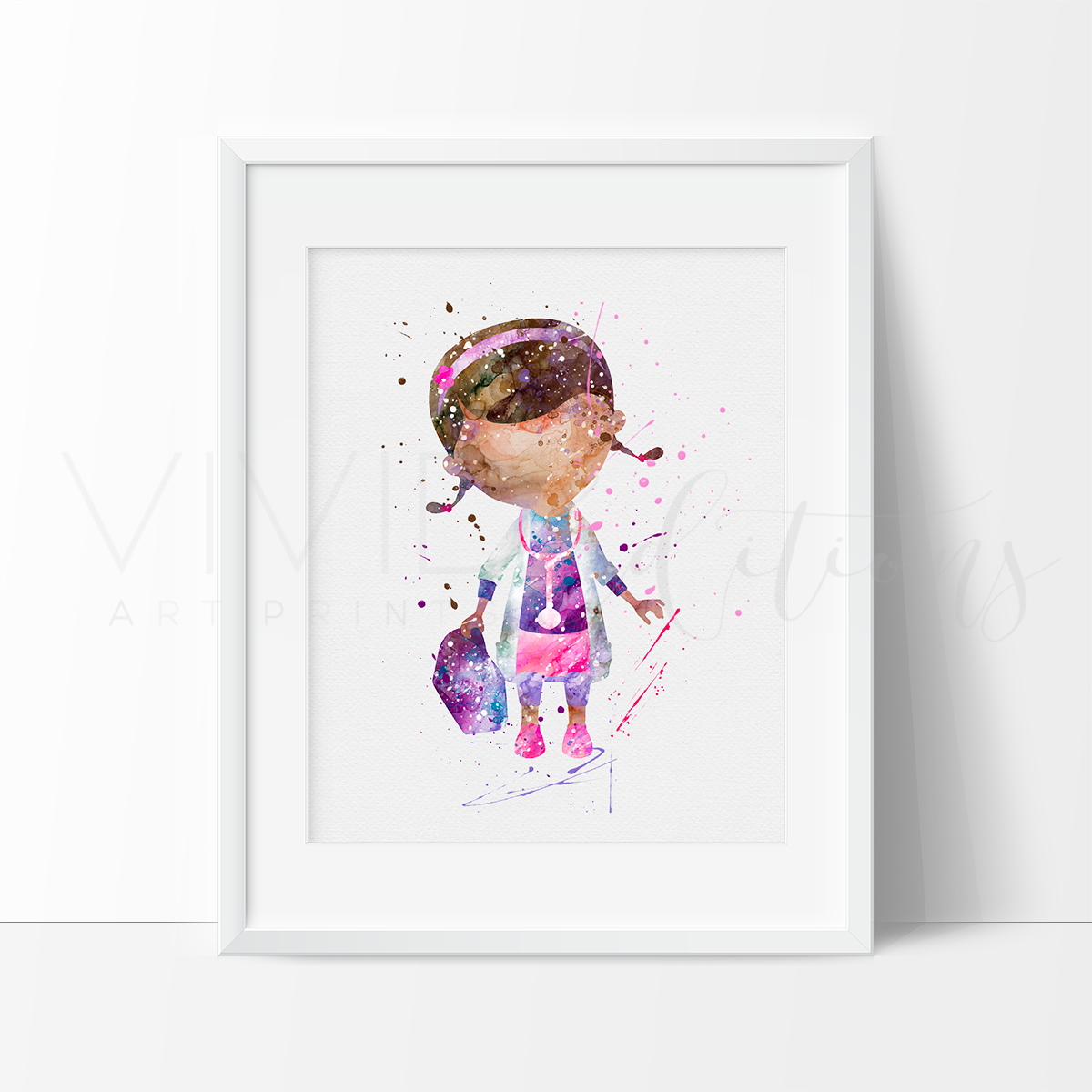 Doc McStuffins Watercolor Art Print Art Print - VIVIDEDITIONS